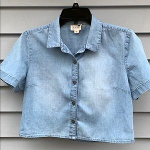 Crop denim button up shirt